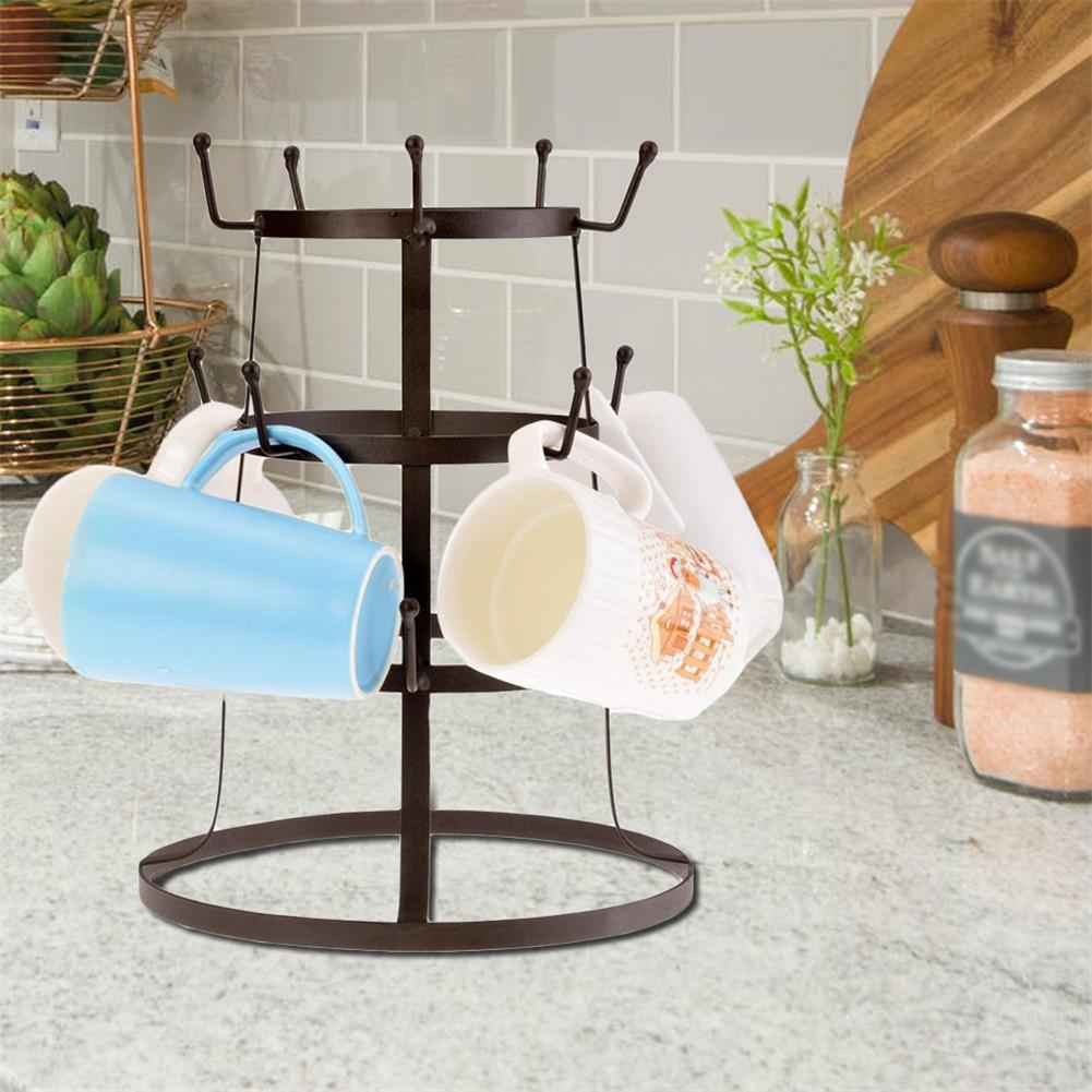 3 Layer Iron Coffee Cup Holder Glass Bottle Organizer Manager Tree Drying Drinkware Rack Stand Home Bar Restaurant Decoration
