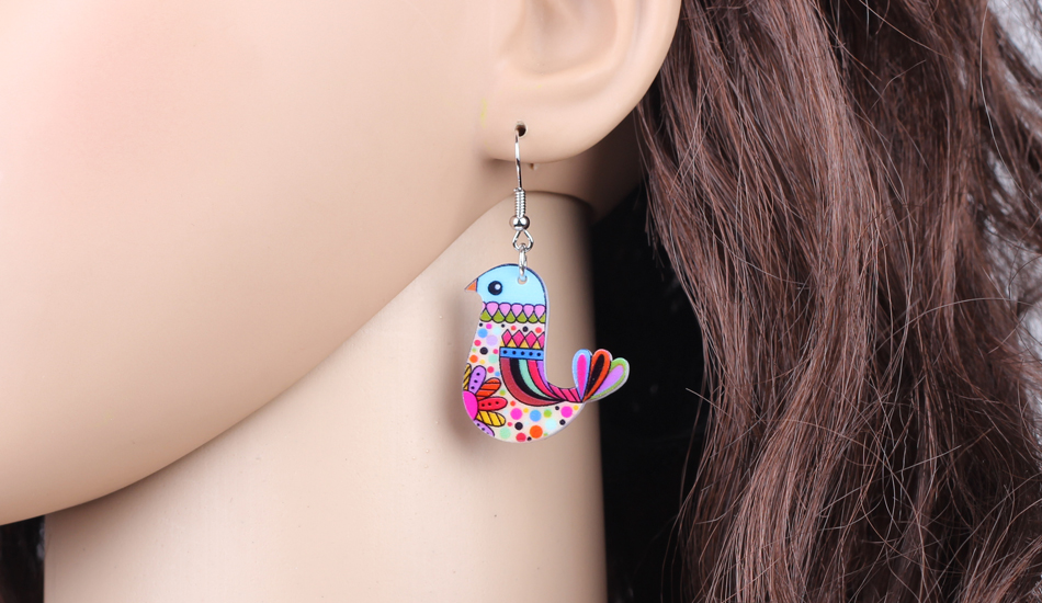 Bonsny Acrylic Flying Voilet Sabrewing Hummingbird Bird Earrings Big Long Dangle Drop Fashion Animal Jewelry For Women Girls Kid 13