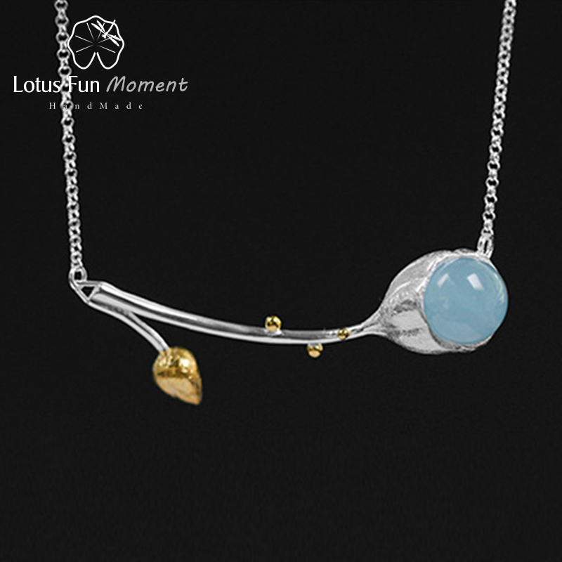 Lotus Fun Moment Real 925 Sterling Silver Natural Stone Handmade Designer Fashion Jewelry Elegant Lotus Buds Necklace for Women стоимость
