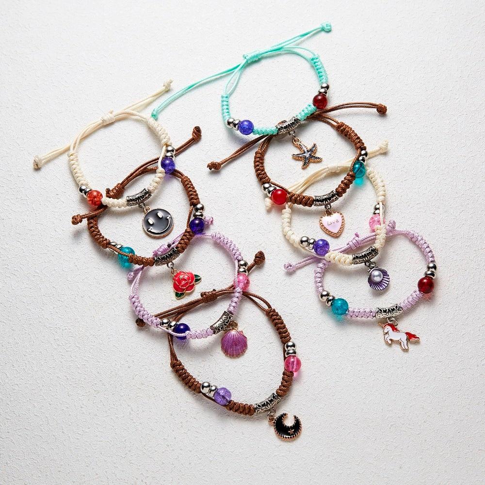 Rinhoo Woven Bracelet Rope-Chain Gift Handmade Adjustable Starfish/moon-Bead Kids