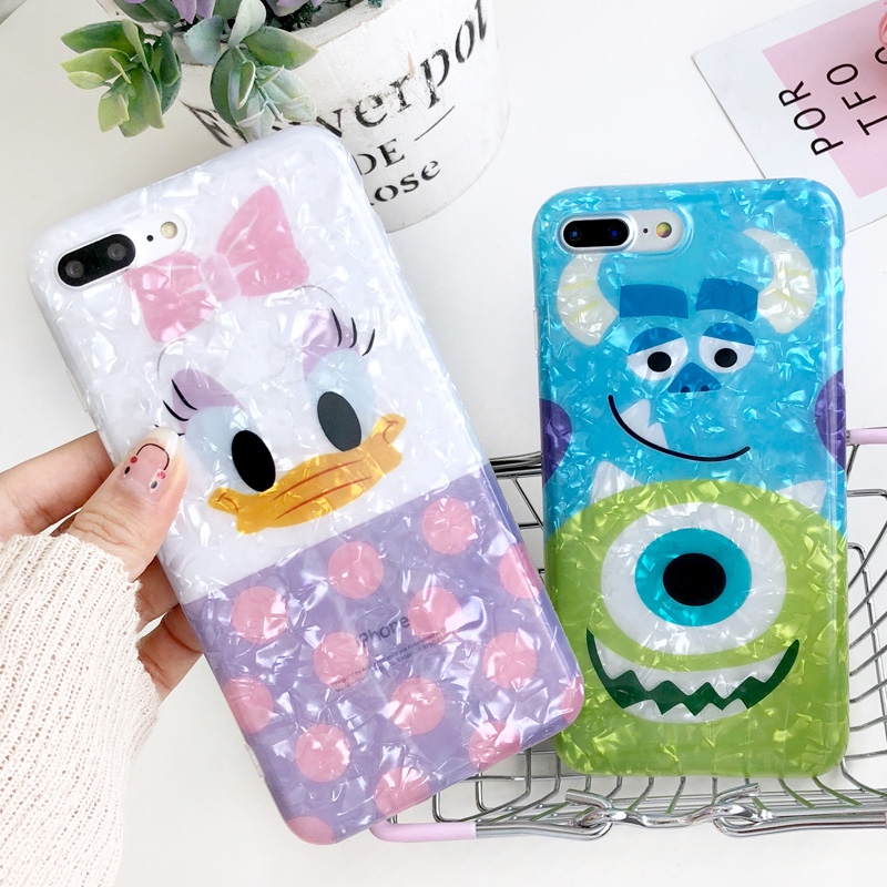 For iPhone 8plus Case Cute Daisy kitty Melody Sullivan back Cover for iPhone X 7 7plus 6 6S 6SPlus Doraemon Conch Shell case