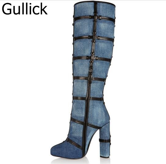 Winter Warm New Arrival Denim Flock Soft Leather Round Toe Zip Patchwork Knee High Boots Caged Chunky High Heels Women Boots women irresistible suede color patchwork ankle boots round toe chunky heels classic side zip short boots new arrival this year