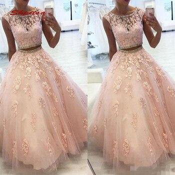 cbe571617 Encaje de color rosa vestidos Quinceanera vestido de bola cuentas cristales  dos pieza de baile de Debutante 16 15 dulce 16 vestido