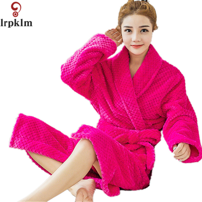 womenu0027s bathrobes kimono robes winter flannel bath robe men long dressing gown man spa warm nightgowns - Flannel Nightgowns