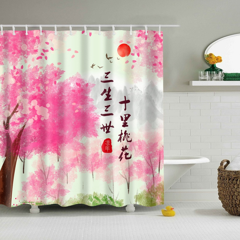 Curtain Hanging Fabric Bathroom Decor Shower Curtain Pink Blossoms Decor Leaves and Plants Spring Flowers in Garden Park