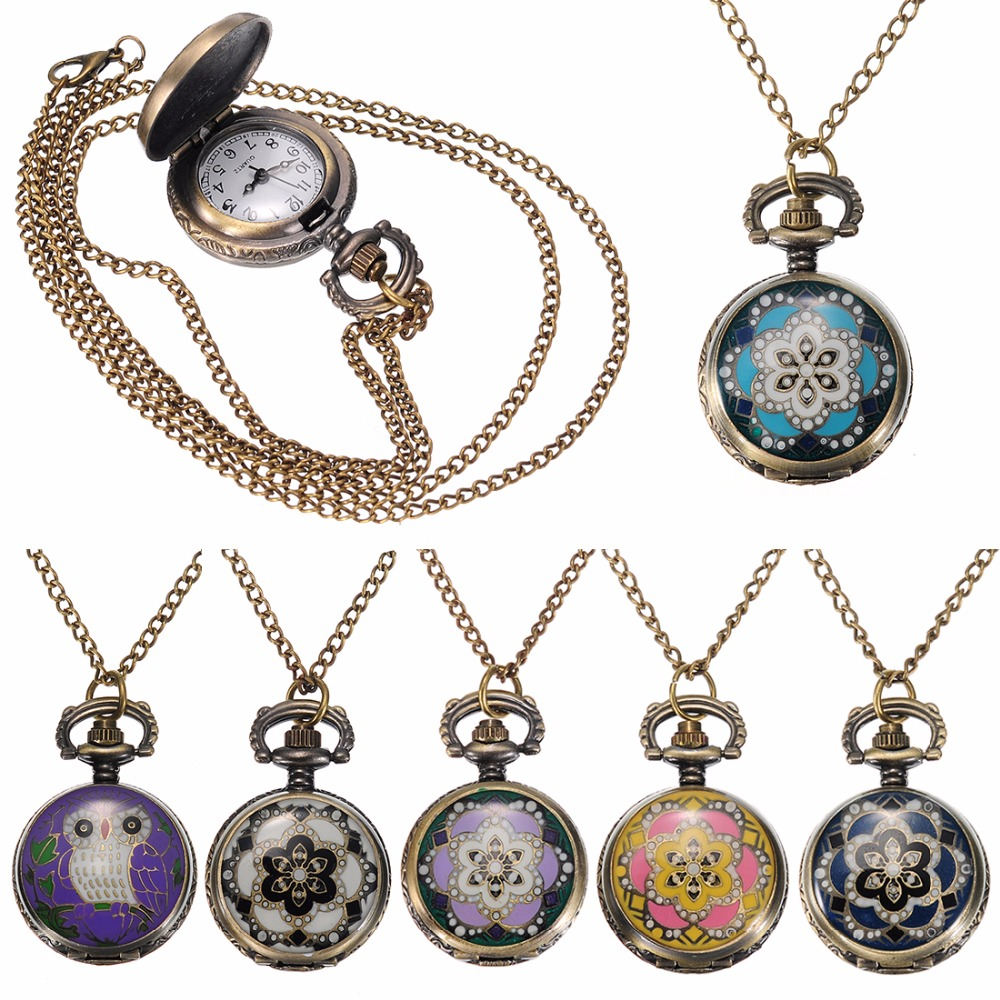 Fashion New Vintage Bronze Flower Small Quartz Pocket Watch Analog Pendant Necklace Womens Pocket Watch Chain new soviet sickle hammer style quartz pocket watch men women vintage bronze pendant necklace pendant clock with chain