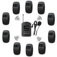 Wireless Tour Guide System 1 Transmitter 10 Receiver For Church Listening Teaching Traveling Conference Interpretation F4525