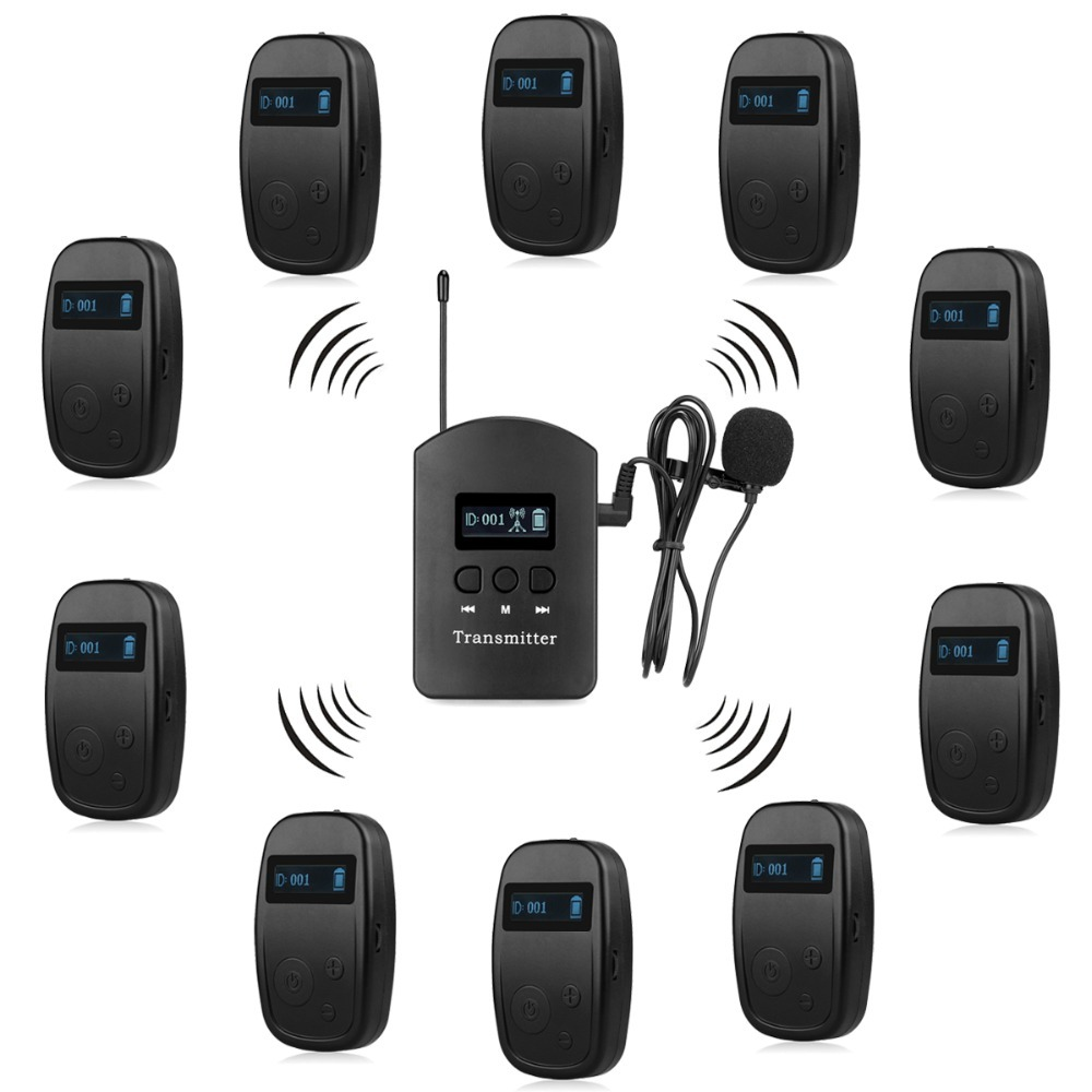 Wireless Tour Guide System 1 Transmitter + 10 Receiver for Church Listening Teaching Traveling Conference Interpretation F4525