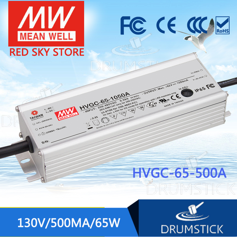 Selling Hot MEAN WELL HVGC-65-500A 13 ~ 130V 500mA meanwell HVGC-65 65W Single Output LED Driver Power Supply A Type mean well hvgc 150 350a 42 428v 350ma meanwell hvgc 150 149 8w singleoutput led driver power supply a type