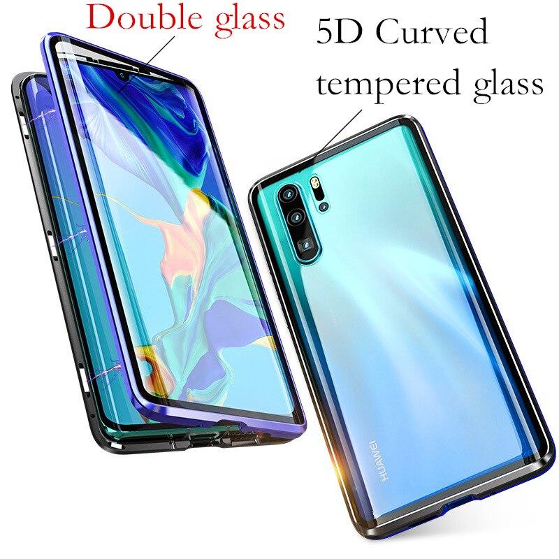 100% Waar 360 Magnetische Adsorptie Voor + Back Dubbelzijdig 9 H Gehard Glas Cover Case Voor Huawei P30 Lite/ P30 Pro Duidelijk Effect