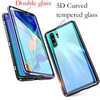 Pour huawei P30 lite étui 360 Adsorption magnétique avant + arrière double face 9H étui pour huawei P30 Pro en verre trempé