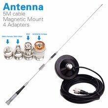 Elmas SG M507 Dual Band anten + manyetik dağı + SMA F/SMA M/BNC/SL16 için 4 adaptör Baofeng UV 5R Walkie Talkie mobil radyo