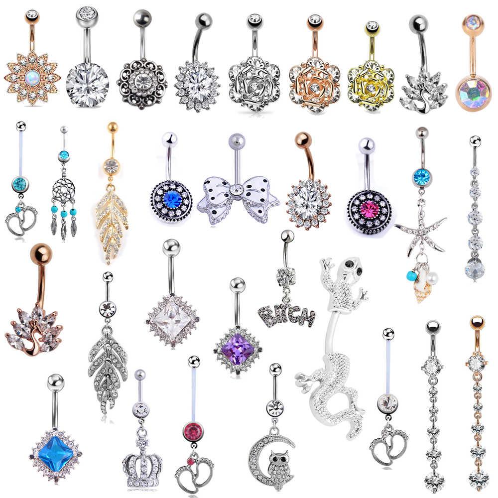 1 шт., винтажный цветок, пупка, пирсинг, кристалл, пупка, кольца, лето, пирсинг, сексуальный пирсинг для пупка, пупка, кольцо