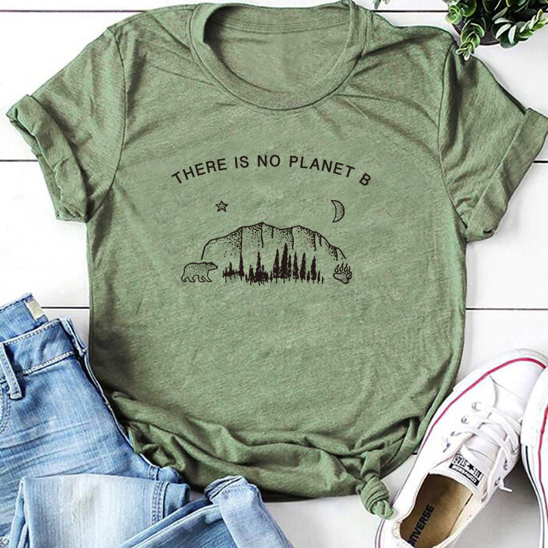 Star Moon Planet Graphic Top There Is No Planet B T-Shirt Funny Planet Slogan Christian Stylish Tee Feminist Vintage Shirts