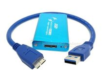 50mm mini PCI-E PCI Eexpress mSATA Solid State Disk SSD to USB 3.0 hard disk case Enclosure with Cable