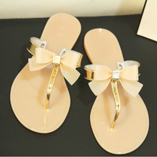 e4974c0025ee97 Hot Fashion Womens Ladies Toe Bow Diamante Jelly Summer Flat Beach Flip  Flop Thong Sandals Black 2 colors 5 size-in Slippers from Shoes on  Aliexpress.com ...