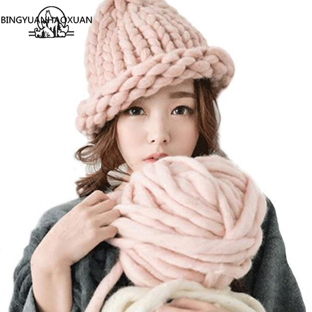BINGYUANHAOXUAN 2017 Women's Fashion Winter Wool Hat Coarse Lines Outdoor Warm Hat Beanie Knitted Hat Multicolor Optional