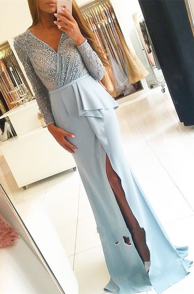 New Style Light Blue   Prom     Dress   Sexy High Slit vestidos fiesta Beaded Long Sleeve Evening   Dresses   V-neck Women Party Gown