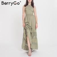 BerryGo Halter Hollow Out Long Summer Dress Women Backless Tie Up Bow Maxi Dress Elegant Spring