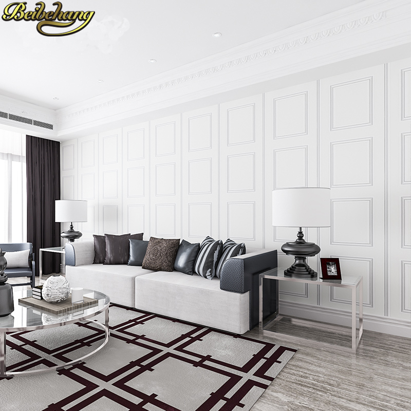 Beibehang Wall Paper Pune Large Square Frame Modern Minimalist Imported Green Non Woven Wallpaper Living Room Backdrop Bedroom In Wallpapers From Home