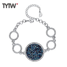 TYTW kristallen van Swarovski doek mode glanzende vrouwen armband hanger charme partij sieraden ronde charme kristallen vrouw Bangle