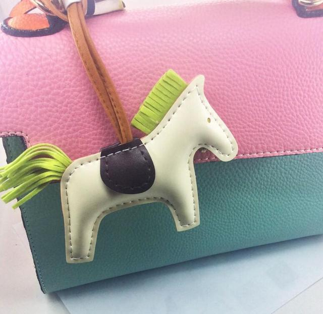 White Leather Horse Tote Bag Charm Bugs School Pendants Charm Cute Horse Shoulder Bag Bugs Charm Purse Charm Keychains