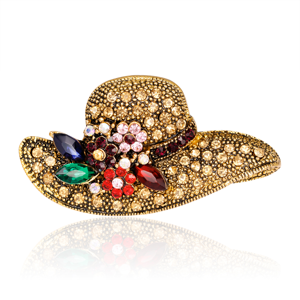 Vintage Elegant Antique Gold Rhinestone Brooch For Wedding Jewelry Fashion  Accessories Sunhat Style Pins And Brooches For Women