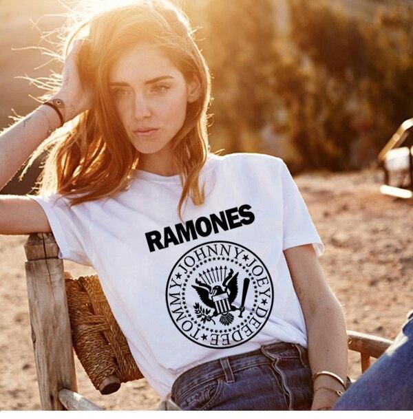 Promotion Summer Women Ramones T Shirt Femme Womens Shirts Womens Tshirt Punk Rock Print Ulzzang T Shirt Women Band Tee Shirts