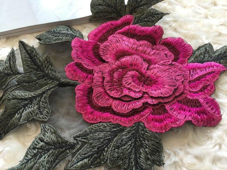 Yüksek Kalite 3D Şakayık Çiçek Elbise Aplike Siyah Organze - Sanat, el sanatları ve dikiş - Fotoğraf 5