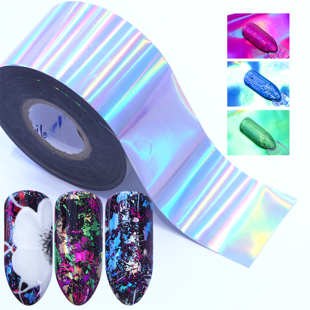 7pcs Holographic Nail Foil Colorful Transfer Stickers Starry Decals Sliders For Nail Art Decoration Tips Manicure Tools Bea07