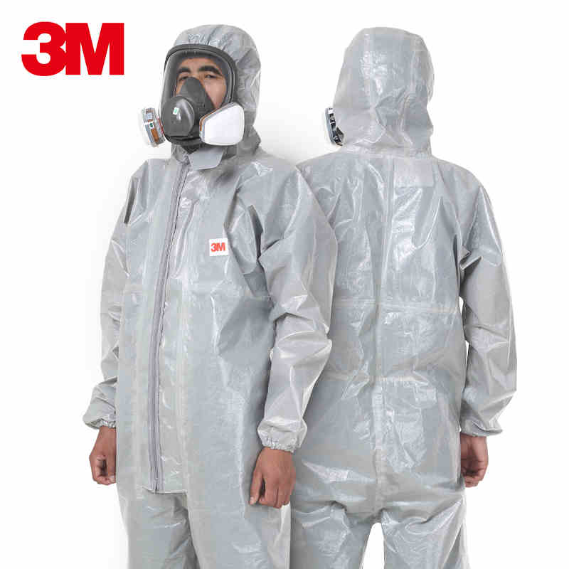 3M 4570 Safety Clothing Chemical Protective Suit Coverall Gray Hooded Anti static Dust Particles Harmful Microbes Spraying