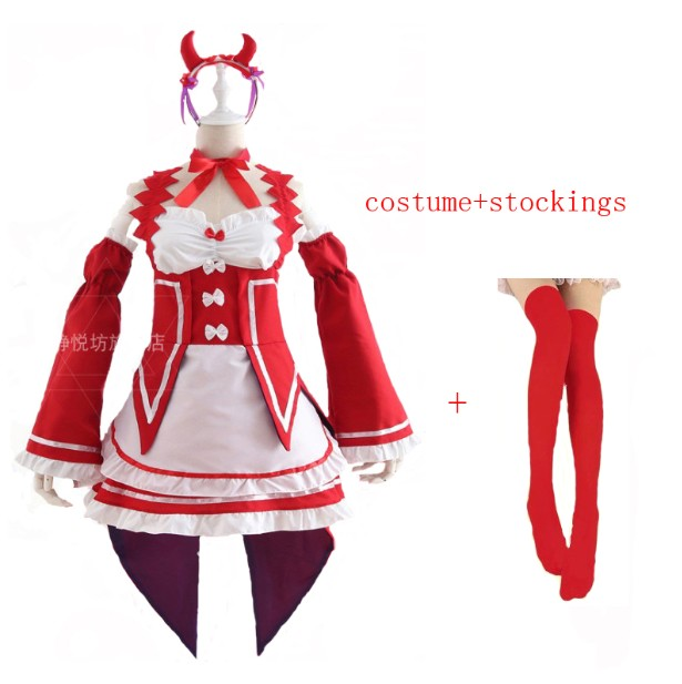 Ram/Rem Косплей Re: zero Hajimeru Isekai Seikatsu черный синий красный костюм горничной платье служанки - Цвет: package  13