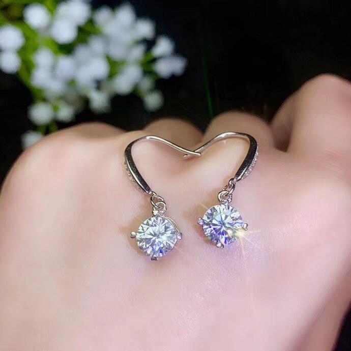 Lanzyo 925 argent Sterling natuarl Moissanite diamant boucles d'oreilles filles cadeau d'anniversaire en argent Sterling bijoux fins nouvelle femme