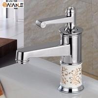 Basin Faucet Porcelain Faucet Retro Mixer Tap Fashion polishing Faucet Copper Hot and Cold Basin Tap