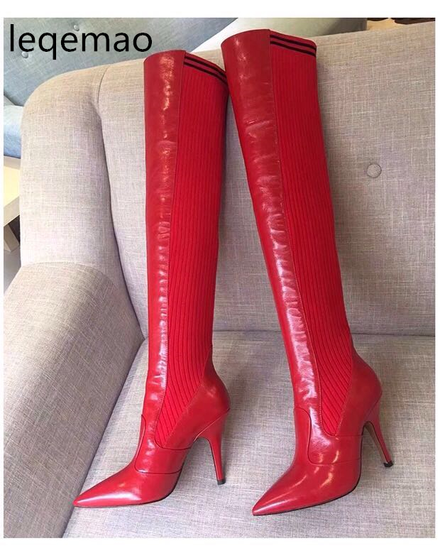 New Fashion Women Thigh High Ankle Boots Ribbed Stretch-Knit Genuine Leather Sock Pointed Toe 10cm High Heels Runway Shoes 34-42 nayiduyun new fashion thigh high boots women genuine leather round toe knee high boots high heel party pumps casual shoes