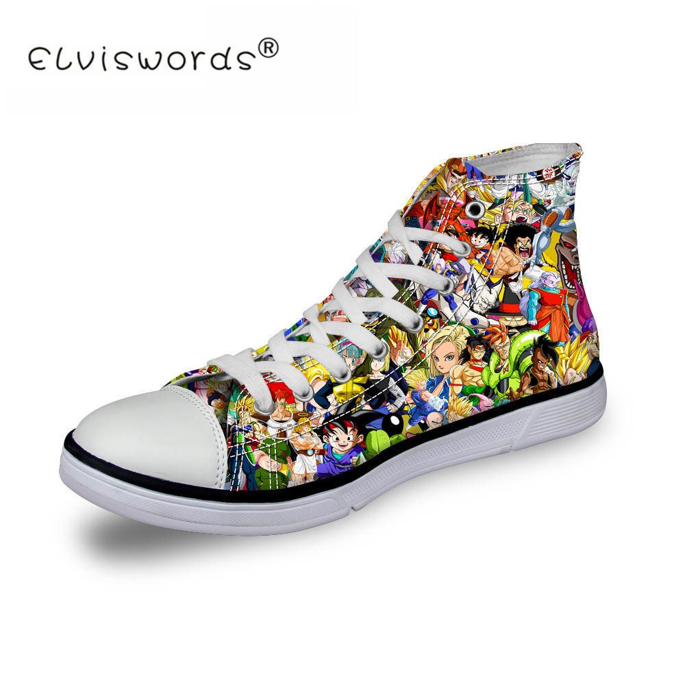 ELVISWORDS Vulcanize Shoes Dragon Ball Print High Top Canvas Sneakers Anime Five Nights at Freddy Design Low-Heeled Casual Flat