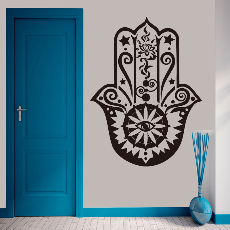 Art Home Decor Hamsa Hand Wall Decal Vinyl Fatima Yoga Vibes Wall Sticker Fish Eye Decals Indian Buddha Lotus Pattern Mural