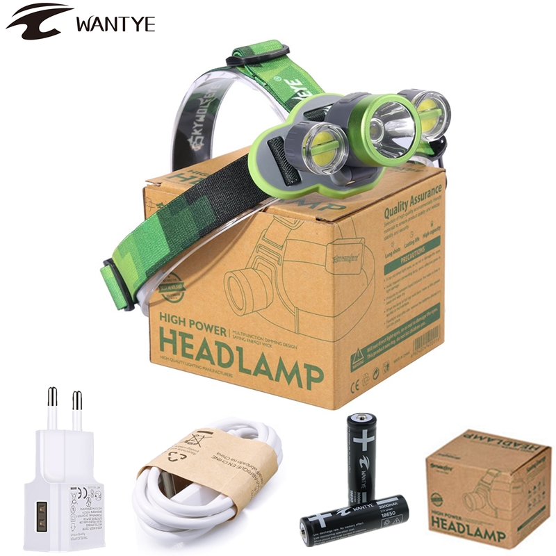 10000lm XM-L2+2COB Headlight LED Headlamp USB Rechargeable Head lamp 18650 Head Torch Flashlight Camping Sport Light boruit b17 led headlamp 10000lm 3 led xm l2 rechargeable headlamp fishing 4 modes camping head lamp cycling headlight flashlight