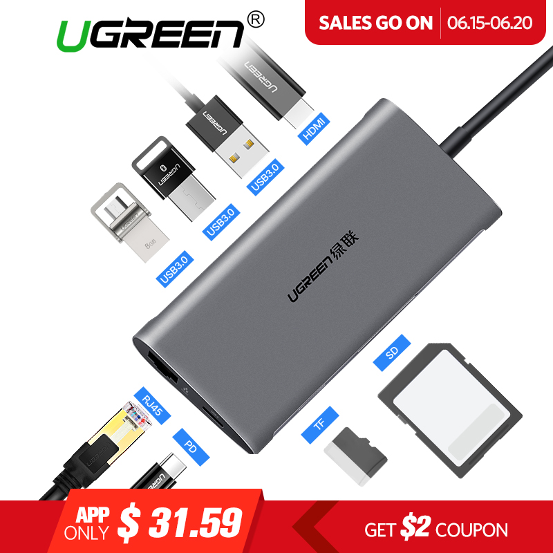 Ugreen USB HUB USB C a HDMI RJ45 PD Thunderbolt 3 adaptador para MacBook Samsung Galaxy S9/S8 Huawei p20 Pro tipo C USB 3,0 HUB