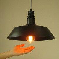 E27 1 Loft Loft American Country Style Black Color Cap Shape Lamps Pendientes Avize Iluminacion Lampshade