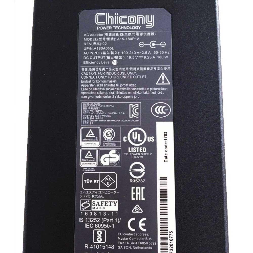 D'origine 180 W 19.5 V 9.23A chargeur pour ordinateur portable Adaptateur secteur pour MSI GE72VR GS63VR Chicony A15-180P1A A180A005L - 3