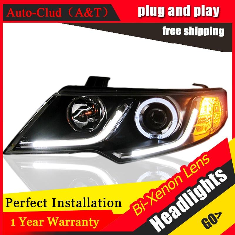 Auto Clud Car Styling for Kia Forte Headlights 2012 Cerato LED Headlight DRL Lens Double Beam H7 HID Xenon bi xenon lens