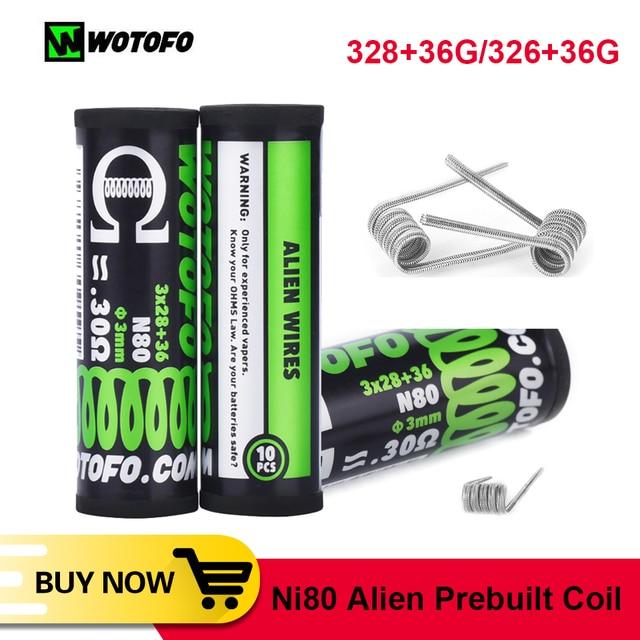 Bobina de Alien para accesorios de cigarrillo electrónico, 10 Uds./tubo Wotofo Ni80, bobina preintegrada, bricolaje, calefacción, Alien, Clapton, Rda