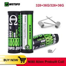 Coil Father 10pcs/tube Wotofo Ni80 Alien Prebuilt Coil DIY Heating Alien Clapton Wire For Electronic Cigarette accessories Rda