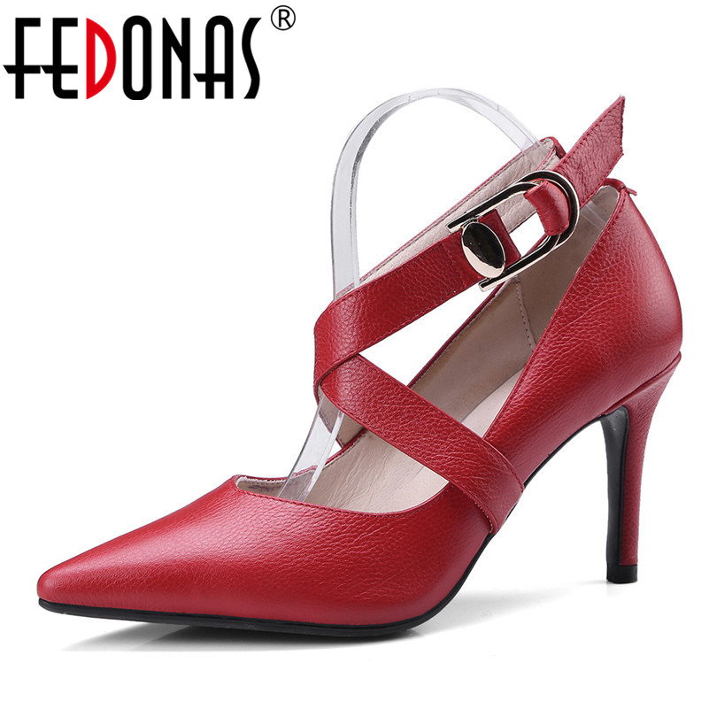 FEDONAS 2018 Spring/Autumn Women Pumps Genuine Leather Shoes Woman Mary Janes High Heel Pointed Toe Fashion Party Wedding Shoes