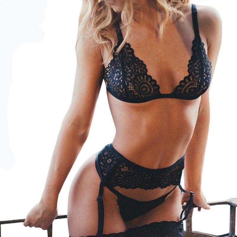 Sexy Lingerie   Bra     Set   Plus Size Women Underwear   Set   3 Piece   Bra  +panties+garte Transparent Bralette Lace Lingerie Black Brassiere