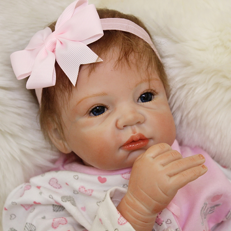 Newest Style 22 Inch Baby Girl Reborn Doll Lifelike Princess Babies Cloth Body Realistic Dolls Toy With Blue Eyes Kids Playmate lifelike american 18 inches girl doll prices toy for children vinyl princess doll toys girl newest design