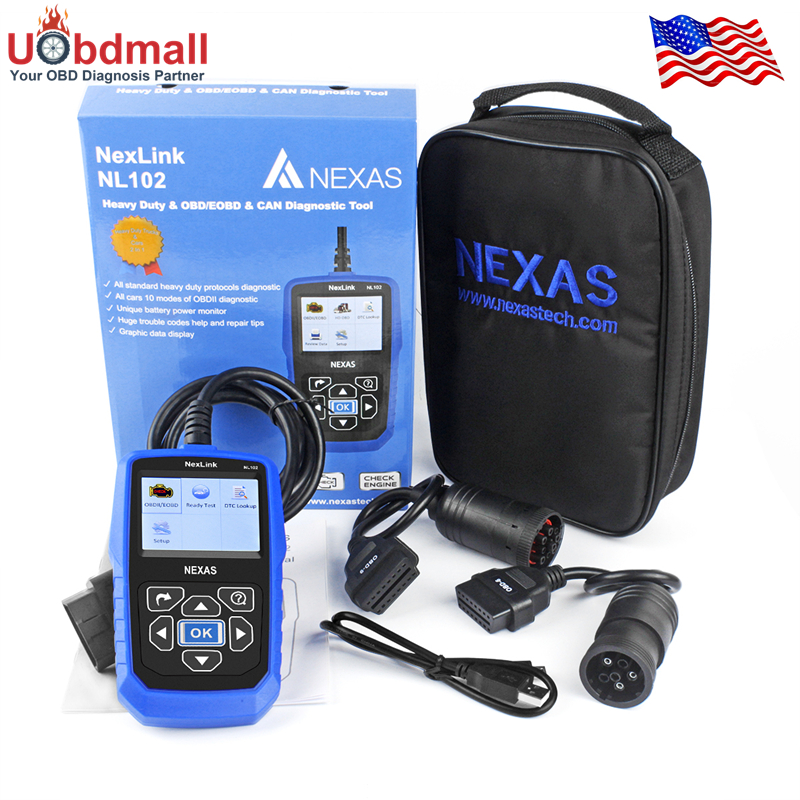 Free Shipping professional heavy duty truck fault automotive scanner Nexas NL102 car truck diagnostic scan tools 2 in 1