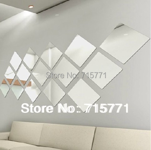 Large 20 Cm Mirror Acrylic Crystal Mosaic Square Wall Sticker Decoration Creative Diy New In Stickers From Home Garden