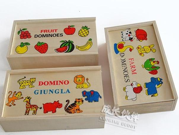 baby wooden Domino block toys/ fruit domino assemble blocks with wood box for kids child gifts educational toys, free shipping